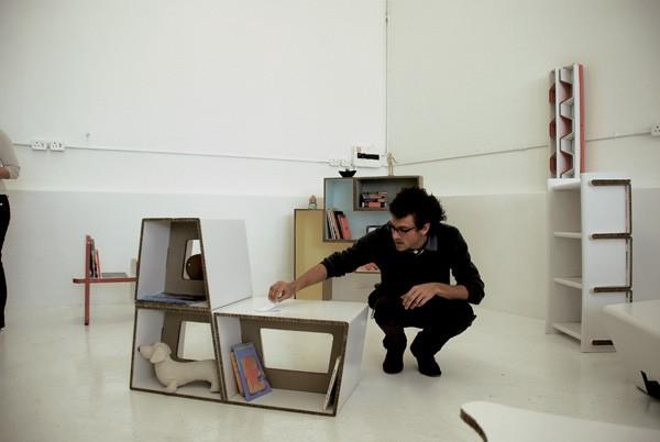 Industrial designer, Oriole Bolus, inspects a modular unit