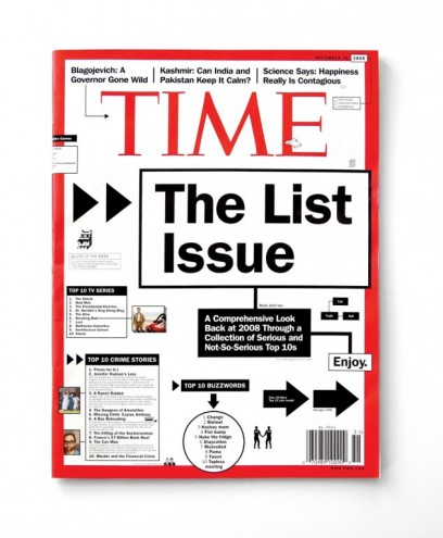 """Time magazine cover for """"Lists"""" edition. Courtesy of Karlssonwilker"""