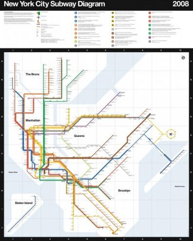 New York subway map 2008. Courtesy of Massimo Vignelli.