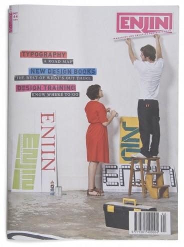 Masthead and cover for Enjin magazine. Courtesy of Richard Hart / disturbance.