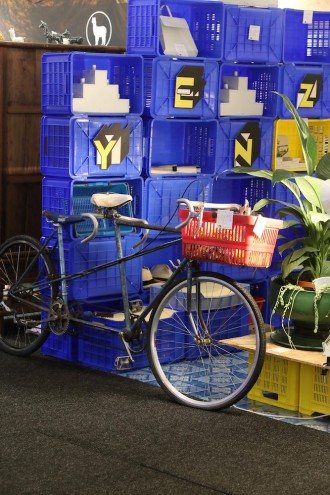 """""""Limousine"""" a self-made tandem bicycle composite on the Yenza stand."""