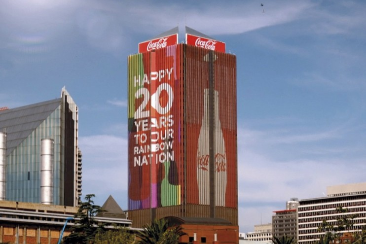 Life Centre in Johannesburg wrapped in Coke branding.