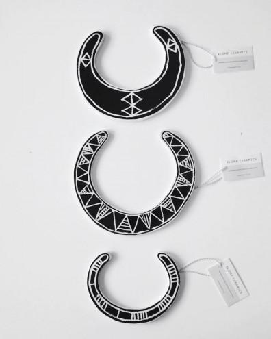 Porcelain neckpieces from the Klomp Ceramics Mawu jewellery range