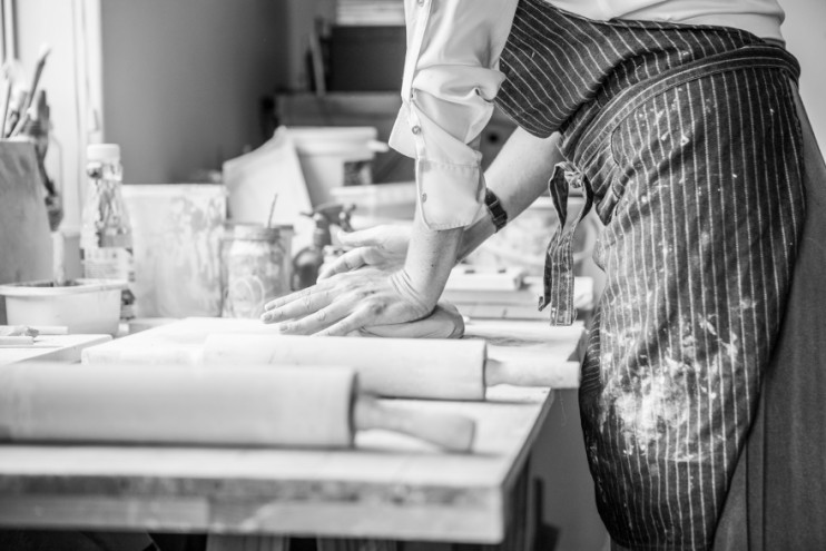Alexia Klompje in her ceramic studio