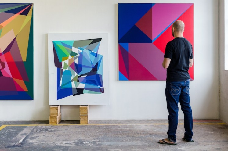 Andrzej Urbanski in studio preparing his upcoming exhibition, Mindgame, at Salon91 (opening 18 March, 2015)