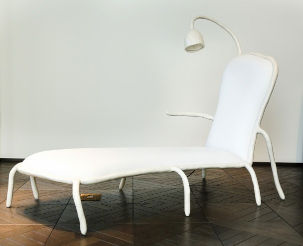 Maarten Baas' chaise longue for Berluti. Images: Berluti and Carpenters Workshop Gallery.