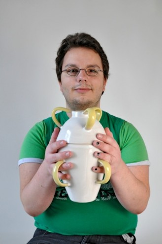 Michael Poggemann with a vase designed through the Be Able co-design process.
