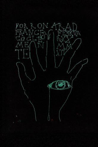 Francesco Clemente's illustration of the mechanical hand for Ron Arad's Last Train project.