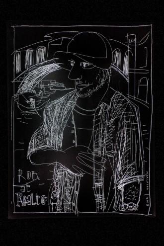 Javier Mariscal's portrait of Ron Arad for Ron Arad's Last Train project.
