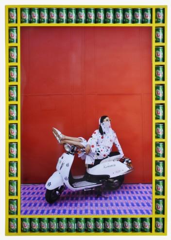 """Miriam, 2010:1431"" by Hassan Hajjaj, part of the 'Kesh Angels series (metallic lambda on 3mm dibond)."