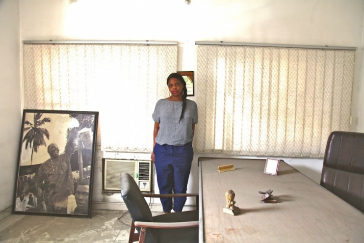 Zina Saro-Wiwa in her father's old office before cleaning it up.