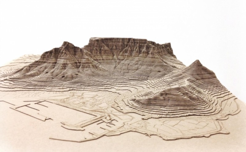Nikki Onderstall's  laser cut models of Cape Town.