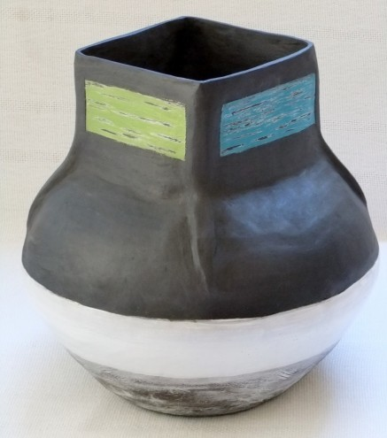 Another of The Berg Collection's Africa-inspired hand-built vases with bright colour glazes. Image: Inness Mass.