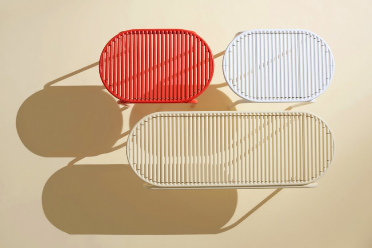 The Roll Collection is a seating system that consists of rotatable aluminium sticks, which massage whilst sliding from left to right.