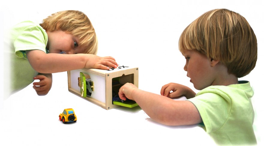 Children playing with the BooToo Lock Box