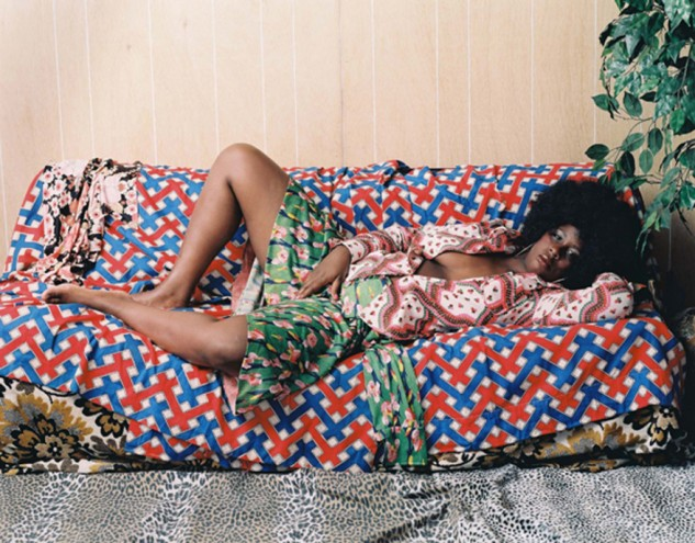 Afro Goddess with Hand Between Legs, 2006 by Mickalene Thomas.