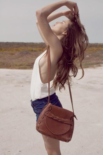 The Joinery - Motato -Natural Hemp vest, Rembrandt-Hemp Denim High waisted shorts, Godini- leather bag