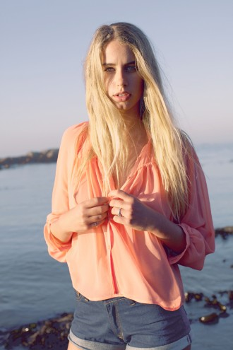 The Joinery- Kita - Peach batwing swing shirt, Rembrandt- High waist hemp denim shorts