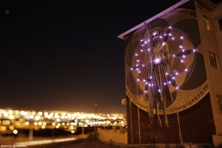 #ANOTHERLIGHTUP. Harvest mural lit up at night. Photo by Rowan Pybus @Makhulu_