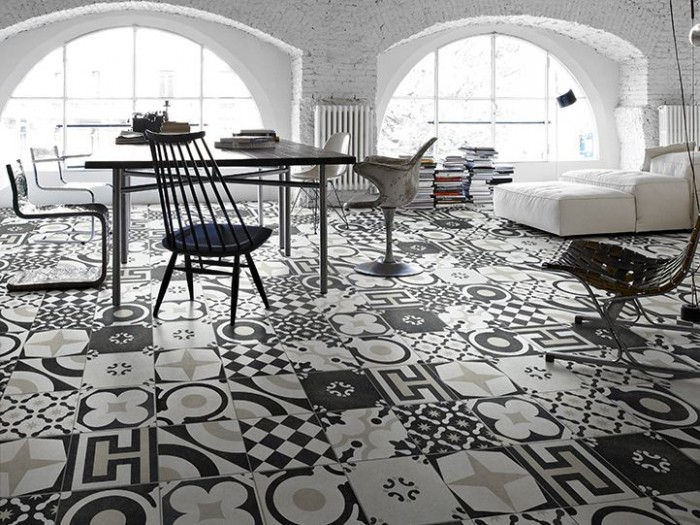 Black and white Cementine designed by Silvia Stanzani for Coem.