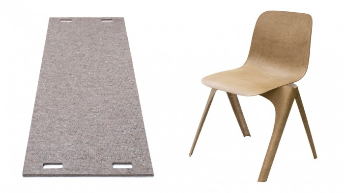 Flax Chair and Wool and Bio-based Plastic Carpet by Christien Meindertsma. Image: Studio Aandacht.