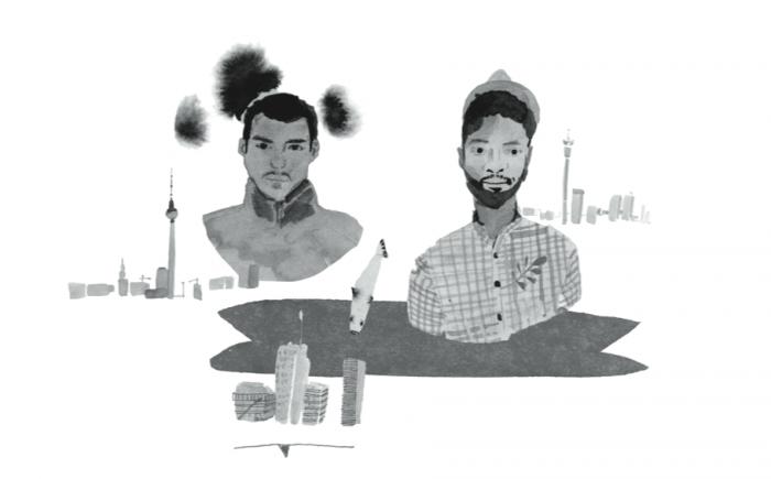 Robin Rhode & Mpumelelo Mcata (BLK JKS). Illustration – Katrin Coetzer.
