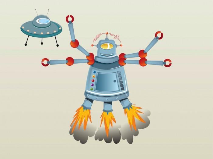 futuristic cartoon robot