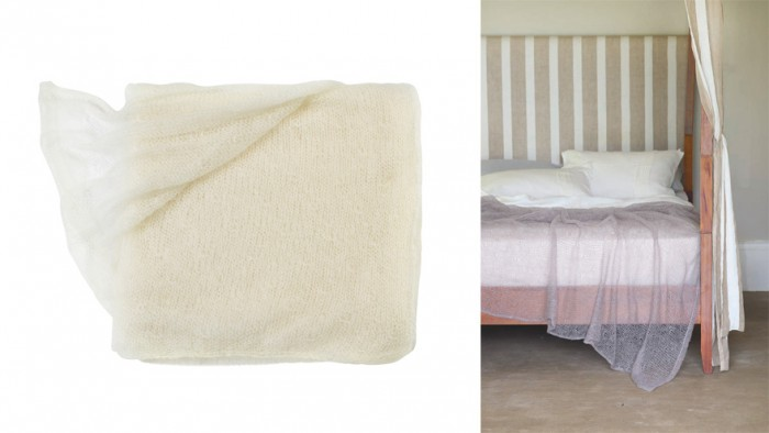 A soft lace, textured throw in kid mohair, called Atmosphere, comes in cloudy hues.