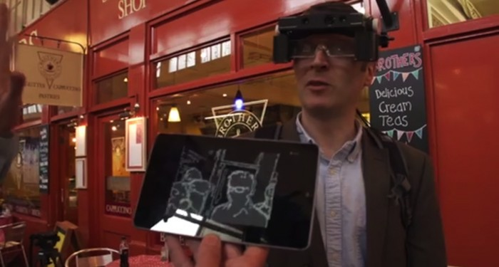 Smart Specs showing the projected images seen by the wearer.