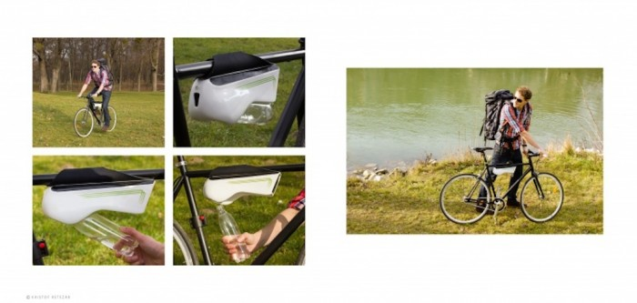 Fontus harvests water from condensation on a bike ride.
