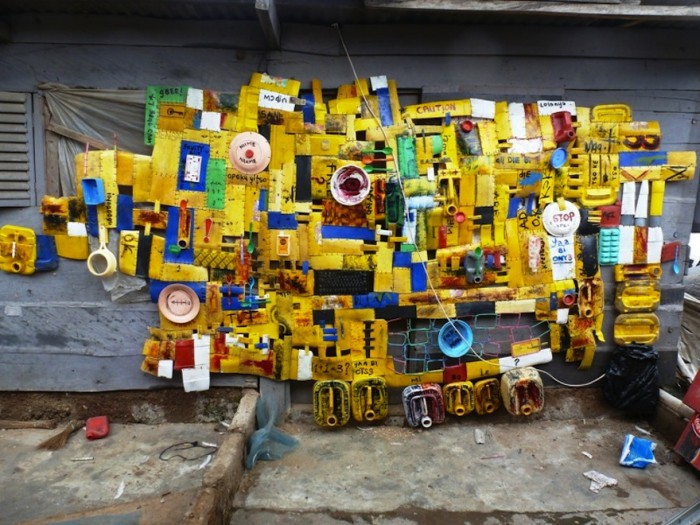 Serge Attukwei Clottey turns yellow oil gallons, a symbol of scarcity in Ghana's into political art.