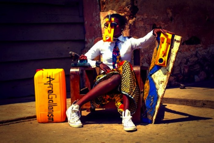 Serge Attukwei Clottey turns yellow oil gallons, a symbol of scarcity in Ghana's into political art. Image: http://museorigins.net/