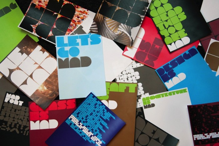 The identity MAD for the Museum of Arts and Design, shown on various sets of card. © Pentagram