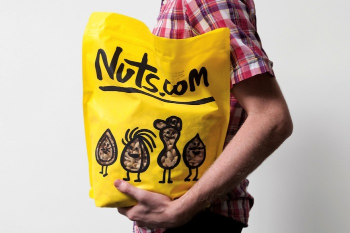 The new packaging for the company Nuts.com © Pentagram