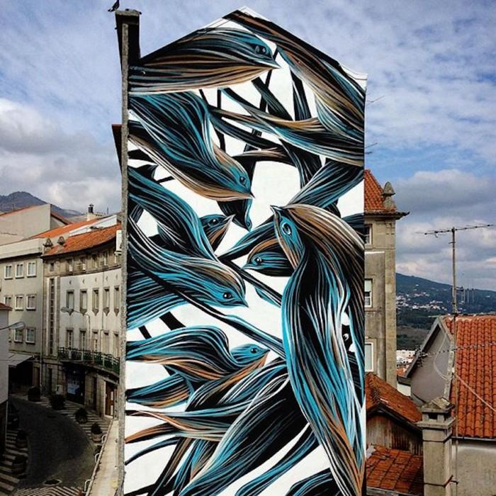 Portuguese artist's massive murals are an ode to nature
