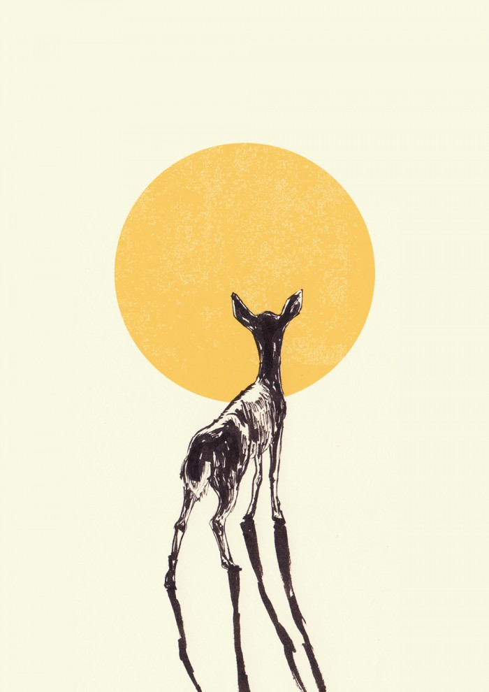 Ishaarah Arnold illustration of a deer in the sun.