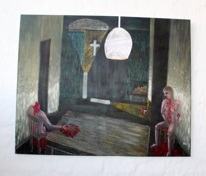 Artist: Koning Frik. Title: My potatoe Eaters. Medium: Oil on Canvas. Emergency: Kidnappings and murders.