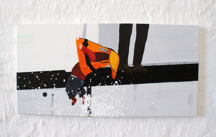 Artist: Nadia Plesner. Title: Refugee Crisis in Europe. Medium: Oil on Canvas. Emergency: Refugee crisis.