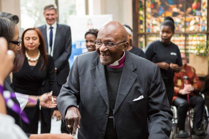 The Archbishop Desmond Tutu arrives at St George's Cathedral, Cape Town for the official dedication ceremony.