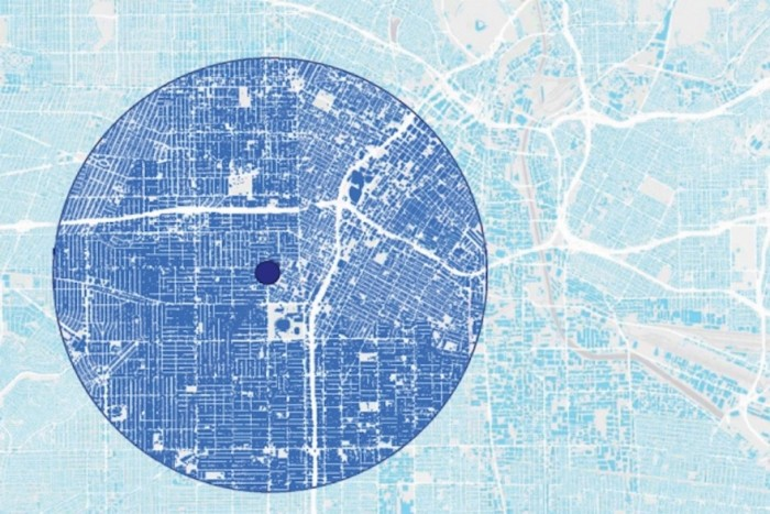 A new study found that cities with an orderly pattern, like the street grid seen in most of this map, have a much greater urban heat island effect than those with a more disorderly pattern, such as areas in the upper right.  Courtesy of the researchers