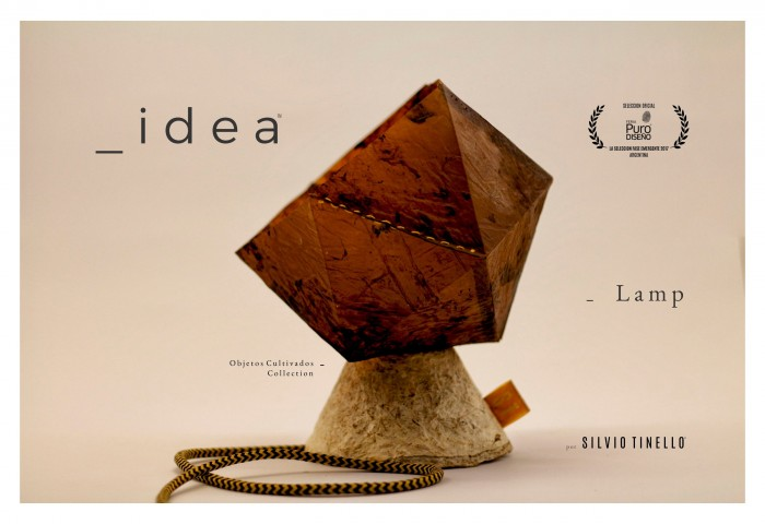 "Silvio Tinello's ""idea"" lamp made from cellulose and Yerba Mate"