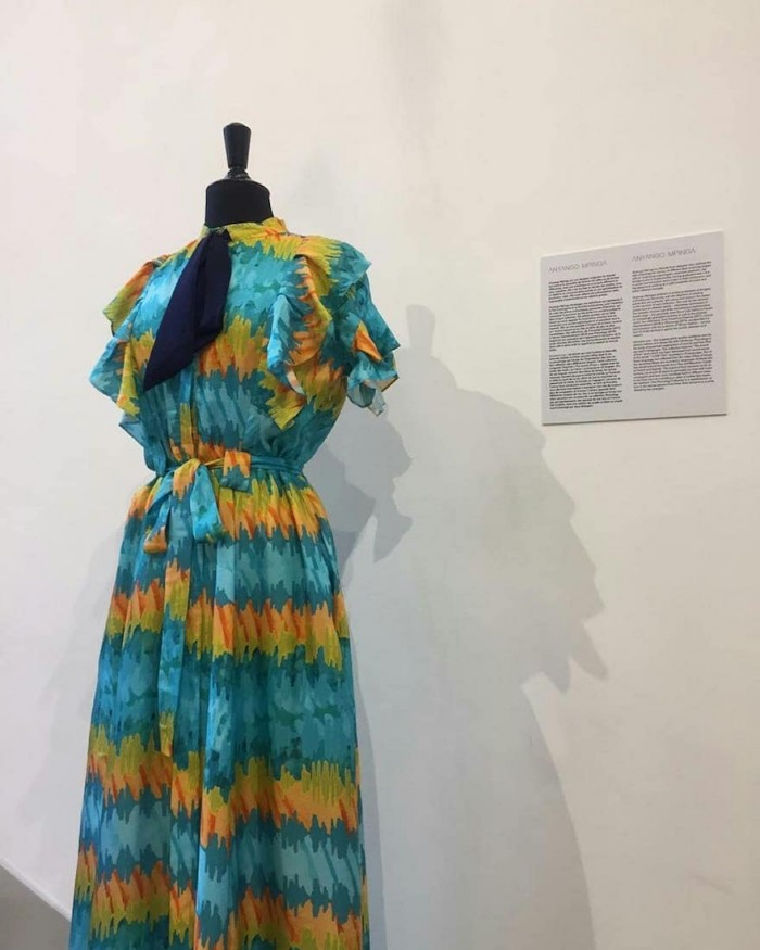 "Anyango Mpinga dress with print from sound waves of the words ""I love you"""