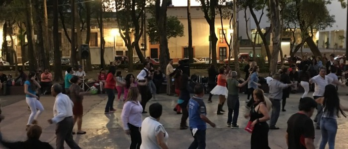 Group dancing on Plaza Ciudadela. Image by Dennis Pieprz.