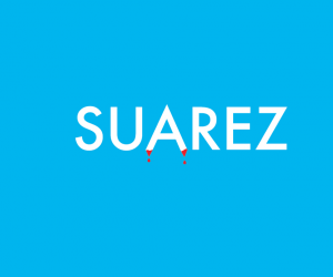 """Suarez"" Worldcup typography treatment by Ji Lee (Facebook)"