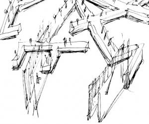 """Sketch of the table designed by Daniel Libeskind for Marina Abramovic's performance """"Counting The Rice""""."""