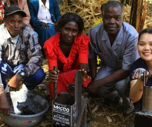 Dalhousie University student, Keilah Bias has invented a pressing machine that turns agricultural waste into briquettes for cooking in impoverished communities. Image: Keila Bias