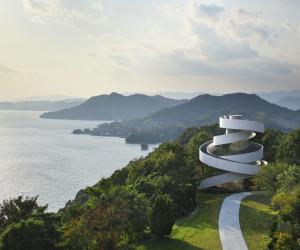 Japanese architect Hiroshi Nakamura designed the Ribbon Chapel – a structure wrapped in double spiral stairways with striking views of the ocean and islands.