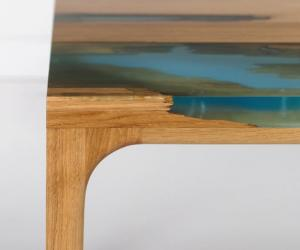 Manufract has designed a furniture range that mimics the process that trees go through when they self-heal as they naturally release resin to fix the wound.