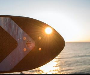 One of recycled fishing net board, the Ahi, by Bureo