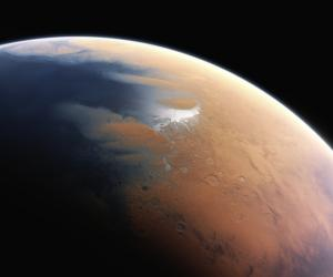 A rendering of what Mars might have looked like earlier in its life